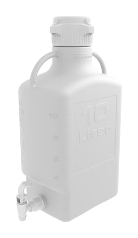 10L HDPE Carboy with 83mm Cap and Spigot - SolventWaste.com