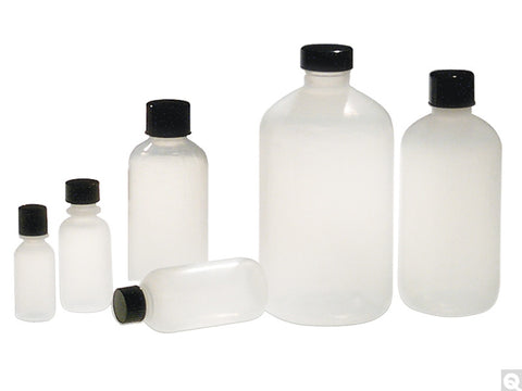 8oz (240mL) Natural LDPE Boston Round Bottles, 252/pk - SolventWaste.com