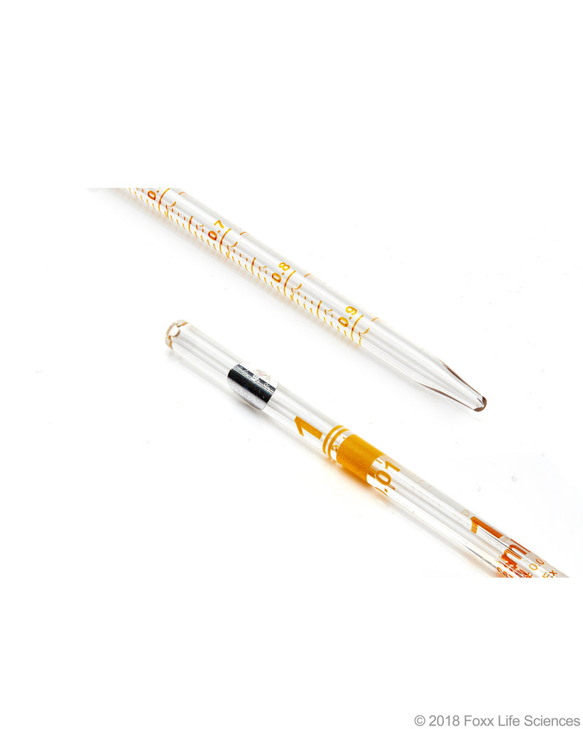 Borosil Graduated Serological pipettes - 3.3 Borosilicate - CS/10 - 1mL - SolventWaste.com