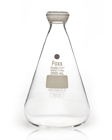 PUREGRIP® Erlenmeyer / Conical Flasks with GL45 Screw Cap 2000 mL 10/Case - SolventWaste.com