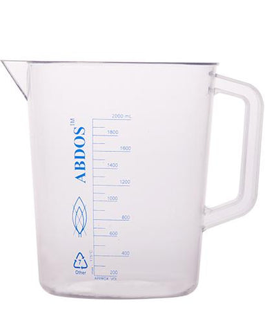Abdos Printed Beakers with Handle, TPX Polymethyl pentene (PMP) 2000ml, 4/CS