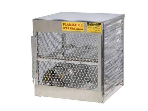 Cylinder locker for safe storage of 4 horizontal 20 or 33-lb. LPG cylinders. - SolventWaste.com