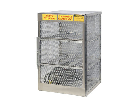 Cylinder locker for safe storage of 6 horizontal 20 or 33-lb. LPG cylinders - SolventWaste.com
