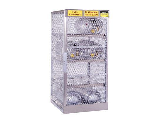 Cylinder locker for safe storage of 8 horizontal 20 or 33-lb. LPG cylinders - SolventWaste.com