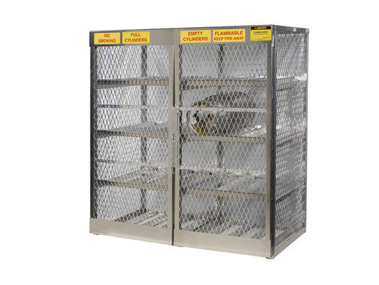 Cylinder locker for safe storage of 16 horizontal 20 or 33-lb. LPG cylinders - SolventWaste.com