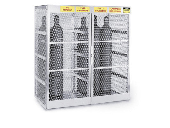 Cylinder locker for safe storage of up to 20 vertical Compressed Gas cylinders. - SolventWaste.com