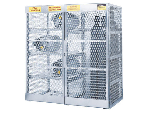 Cylinder locker combo for storage of 8 horizontal LPG and 10 vertical Compressed Gas cylinders - SolventWaste.com