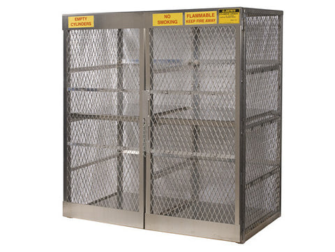 Cylinder locker for safe storage of 16 vertical 20 or 33-lb. LPG cylinders - SolventWaste.com