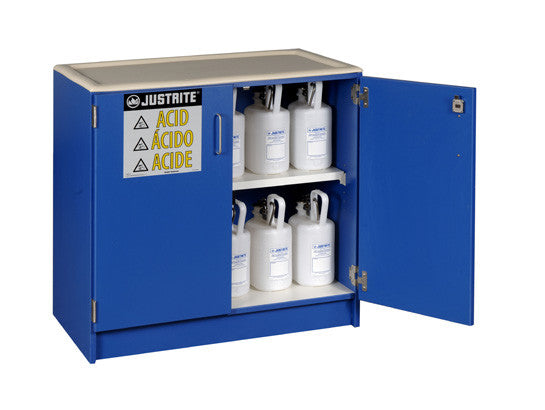 Wood laminate corrosives Undercounter safety cabinet, Cap. thirty-six 2-1/2 ltr bottles, 2 dr - SolventWaste.com
