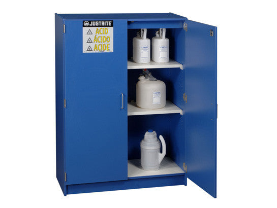 Wood laminate corrosives safety cabinet, Cap. forty-nine 2-1/2 liter bottles, 2 doors - SolventWaste.com