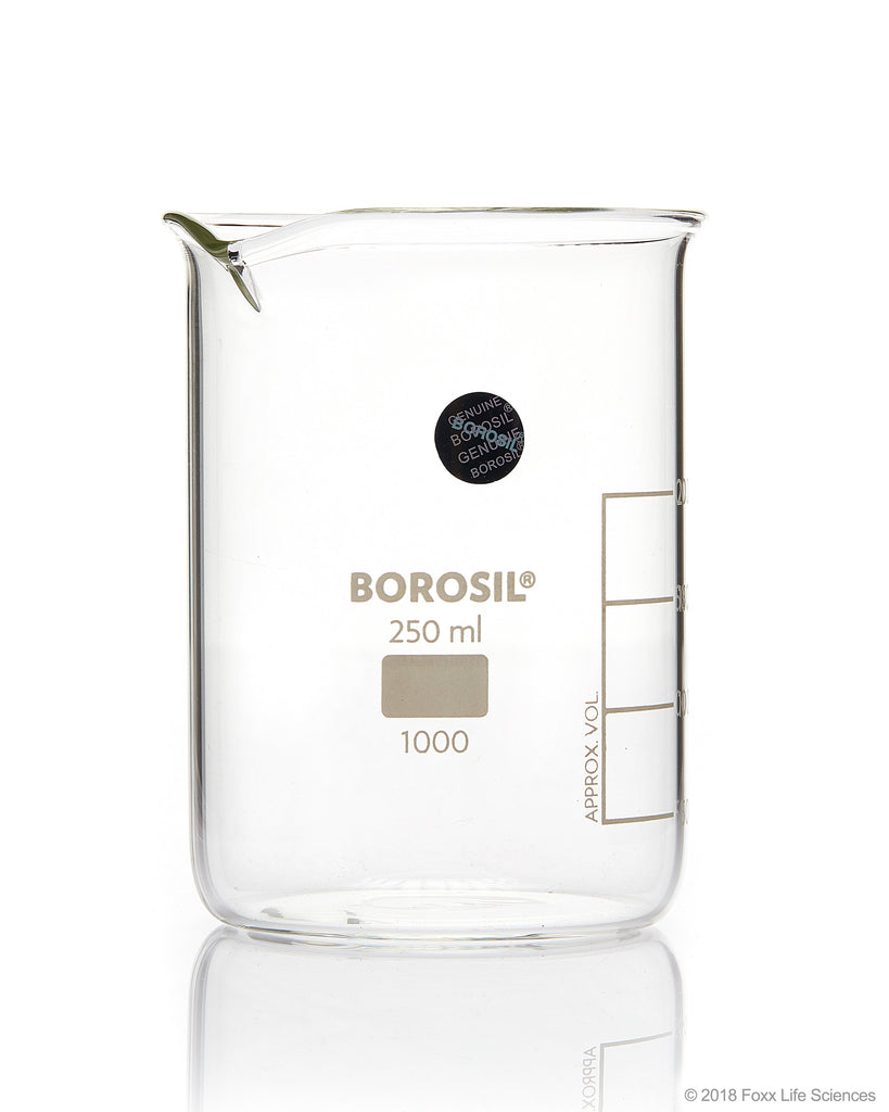 Borosil® Beaker Griffin Low Form with Spout Graduated ISO 3819 Borosilicate 250mL CS/40 - SolventWaste.com