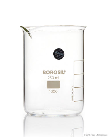 Borosil® Beaker Griffin Low Form with Spout Graduated ISO 3819 Borosilicate 250mL CS/40