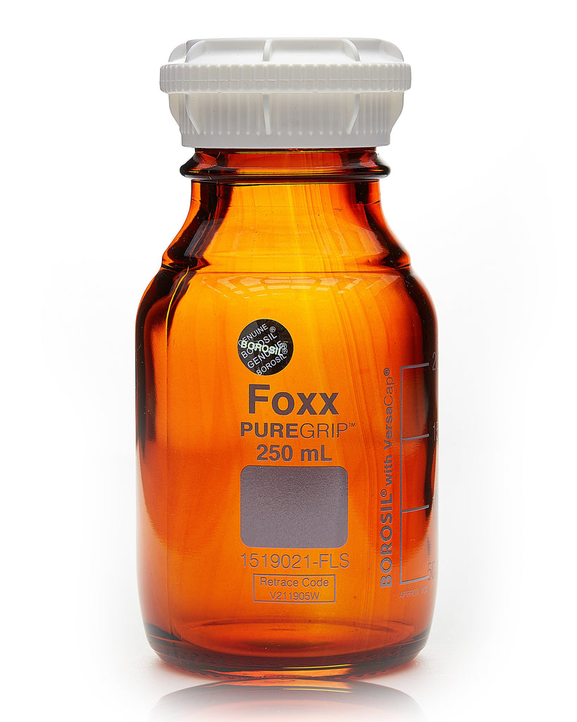 PUREGRIP® Bottles - Reagent - Amber Graduated with GL45 Screw Cap and Pouring Ring - 250mL - 10/case - SolventWaste.com