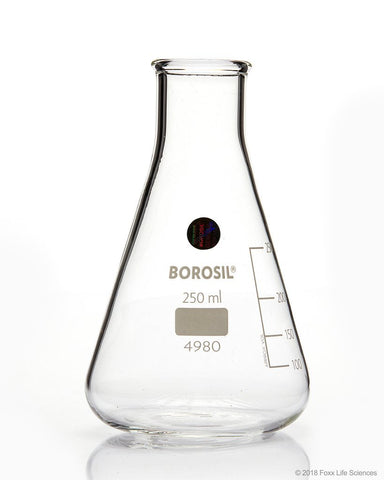 Borosil® Erlenmeyer Conical Flasks Narrow Mouth I/C Stopper 250mL - SolventWaste.com
