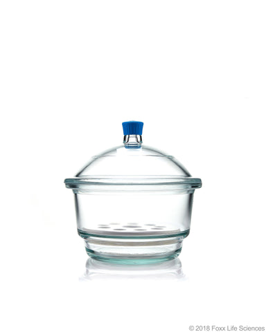 Borosil® Desiccator With Cover and Porcelain Plate - Plastic Knob - Borosilicate Glass 250 mm CS/1
