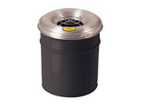Cease-Fire® Ash and Cigarette Butt Receptacle Drum with Aluminum Head w/Grill Guard, 4.5 gallon (17L) - SolventWaste.com