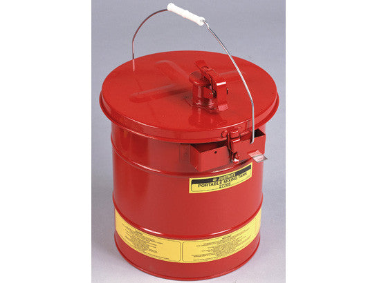 Portable Mixing Tank, 5 gal (19L), removable cover w/flame arrester, bonding tab, Steel - SolventWaste.com