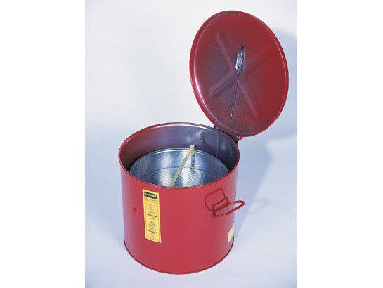 Wash Tank with Basket for small parts cleaning, 6 gal, self-close cover w/fusible link, Steel - SolventWaste.com