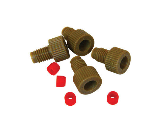 "Replacement 1/8"" OD Tube Fittings w/PCTFE Ferrules for HPLC Stainless Steel Manifold, set/4 each - SolventWaste.com"