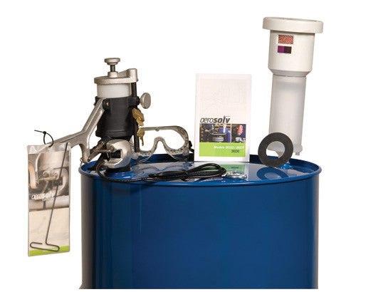 Aerosolv® Super System for recycling aerosol cans, puncturing unit, filter, wire, counter, and goggles