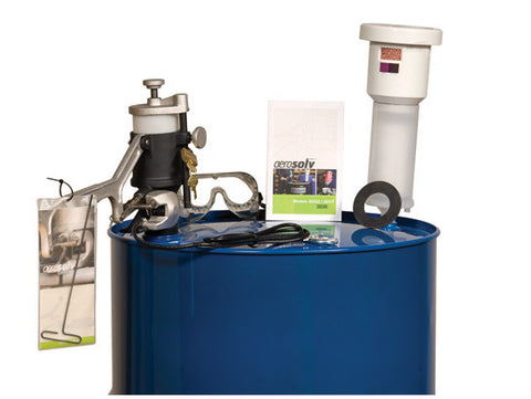 Aerosolv® Super System for recycling aerosol cans, puncturing unit, filter, wire, counter, and goggles - SolventWaste.com