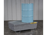 Steel Pallet with galvanized steel bar grating and forklift pockets, 2 drum - SolventWaste.com