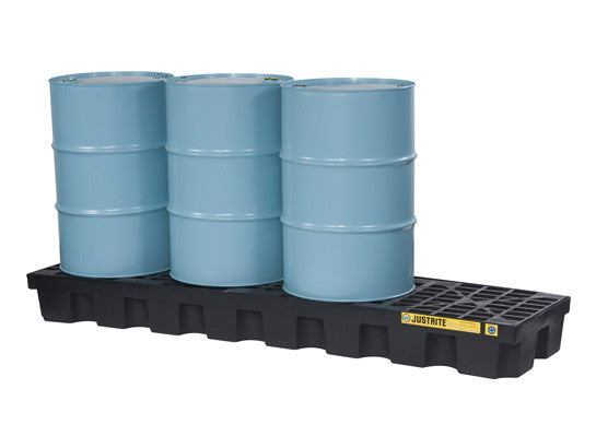EcoPolyBlend™ Spill Control Pallet with drain, 4 drum in-line, recycled polyethylene - SolventWaste.com