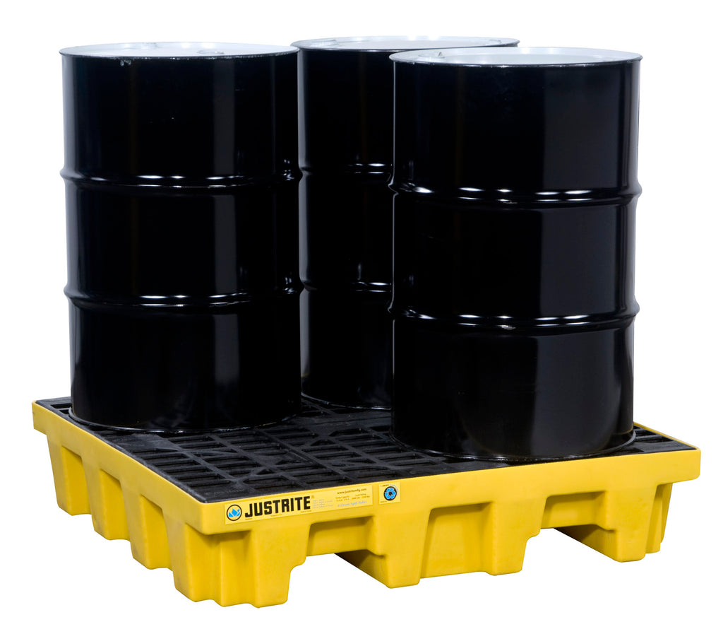 Justrite EcoPolyBlend® Spill Control Pallet, 4 drum square, 35% recycled Poly, Yellow - SolventWaste.com