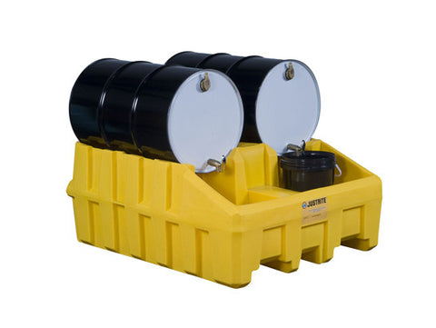Drum Management Base Module, dispensing well, forklift channels, poly, Yellow - SolventWaste.com