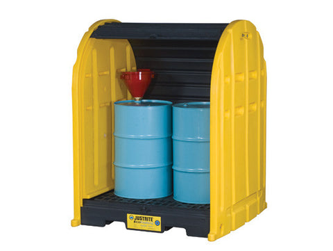 EcoPolyBlend™ DrumShed™ with rolltop doors, accommodates 2 drums, polyethylene - SolventWaste.com