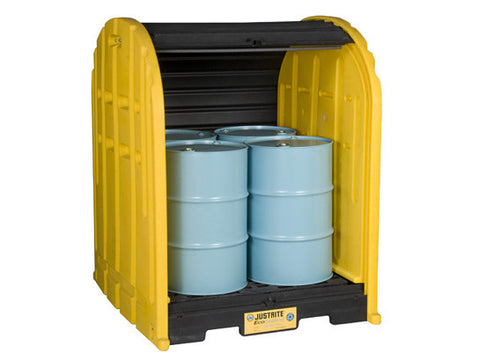 EcoPolyBlend™ DrumShed™ with rolltop doors, accommodates 4 drums, polyethylene - SolventWaste.com