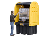 EcoPolyBlend™ IBC Outdoor Shed with Pallet - forklift pockets, rolltop doors, 40% recycled poly - SolventWaste.com