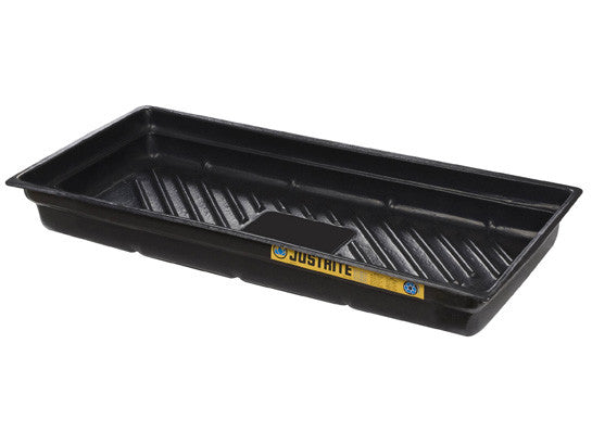 "EcoPolyBlend™ Spill Tray, Dims 38""W x 26""D x 5-1/2""H, indoor or outdoor use, rigid poly, Black - SolventWaste.com"