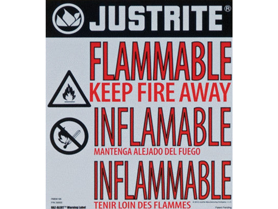 Haz-Alert™ Flammable large warning label for safety cabinet - SolventWaste.com