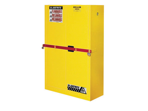 High Security Flammables Safety Cabinet w/steel bar, Cap. 45 gals., 2 shelves, 2 m/c doors - SolventWaste.com