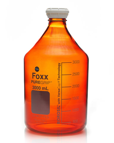 PUREGRIP® Bottles - Reagent - Amber Graduated with GL45 Screw Cap and Pouring Ring - 3000mL - 2/case - SolventWaste.com