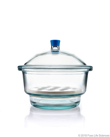 Borosil® Desiccator With Cover and Porcelain Plate - Plastic Knob - Borosilicate Glass 300 mm CS/1
