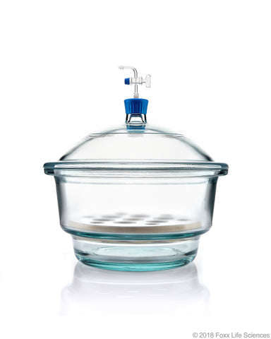 Borosil® Desiccator Vacuum - Stopcock with PTFE spindle and Porcelain plate - 300 mm - Borosilicate - SolventWaste.com