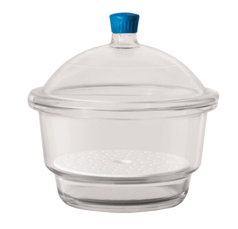 Borosil Desiccator With Cover and Porcelain Plate, Plastic Knob, Borosilicate Glass 150 mm CS/1 - SolventWaste.com