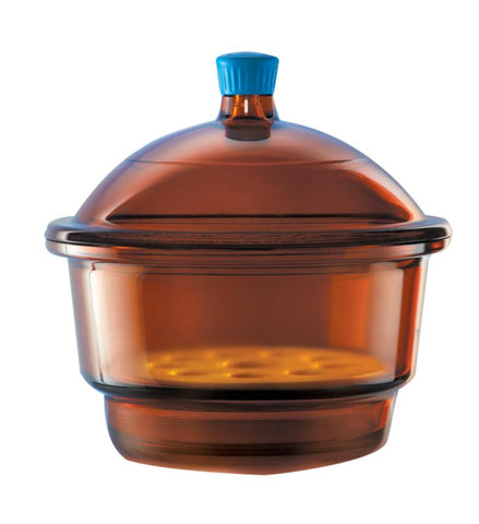 Borosil® Light Blocking Amber Glass Desiccator with Porcelain Plate and Borosilicate Lid with Plastic Knob - Medium (M) - 250 mm Diameter - 1/EA - SolventWaste.com