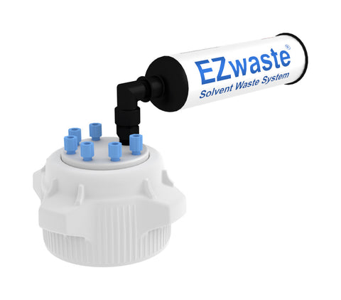 EZwaste® Safety Vent VersaCap® 83mm, 6 Ports for 1/8'' OD Tubing and a Chemical Exhaust Filter - SolventWaste.com