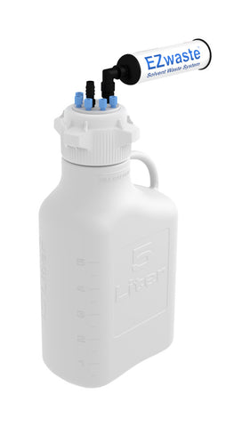 "EZwaste® HD Safety Vent Carboy 5L HDPE with VersaCap® 83mm, 6 ports for 1/8"" OD Tubing, 1 port for 1/4"" HB or 3/8""HB - SolventWaste.com"