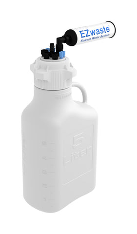 "EZwaste® HD Safety Vent Carboy 5L HDPE with VersaCap® 83mm, 4 ports for 1/8"" OD Tubing, 3 ports for 1/4"" OD Tubing, 1 port for 1/4"" HB or 3/8"" HB - SolventWaste.com"