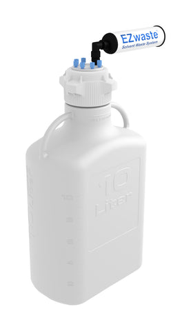 EZwaste® HDSafety Vent Bottle 10L HDPE with VersaCap® 83mm, 6 Ports for 1/8'' OD Tubing and a Chemical Exhaust Filter - SolventWaste.com