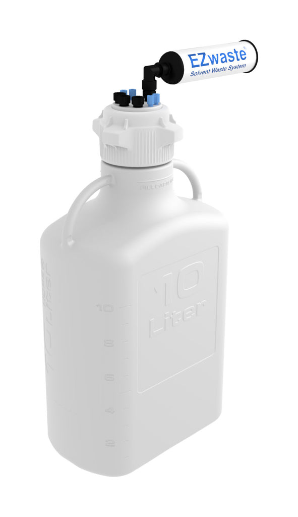 "EZwaste® HD Safety Vent Carboy 10L HDPE with VersaCap® 83mm, 4 ports for 1/8"" OD Tubing, 3 ports for 1/4"" OD Tubing - SolventWaste.com"