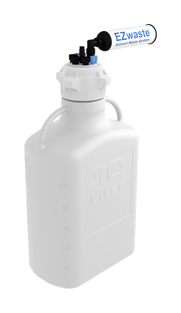 "EZwaste® HD Safety Vent Carboy 10L HDPE with VersaCap® 83mm, 4 ports for 1/8"" OD Tubing, 3 ports for 1/4"" OD Tubing, 1 port for 1/4"" HB or 3/8"" HB - SolventWaste.com"