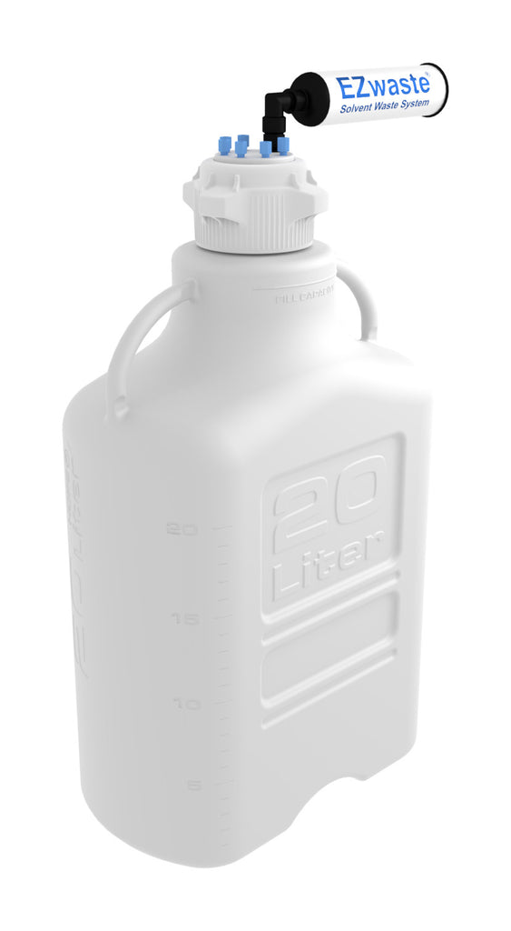 EZwaste® HD Safety Vent Bottle 20L HDPE with VersaCap® 83mm, 6 Ports for 1/8'' OD Tubing and a Chemical Exhaust Filter - SolventWaste.com