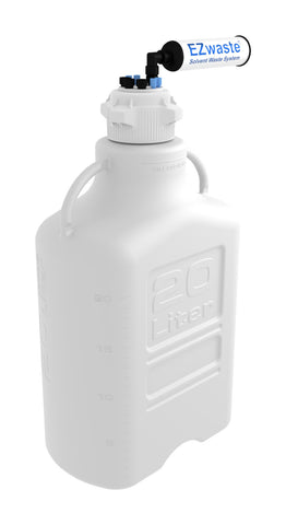 "EZwaste® HD Safety Vent Carboy 20L HDPE with VersaCap® 83mm, 4 ports for 1/8"" OD Tubing, 3 ports for 1/4"" OD Tubing - SolventWaste.com"