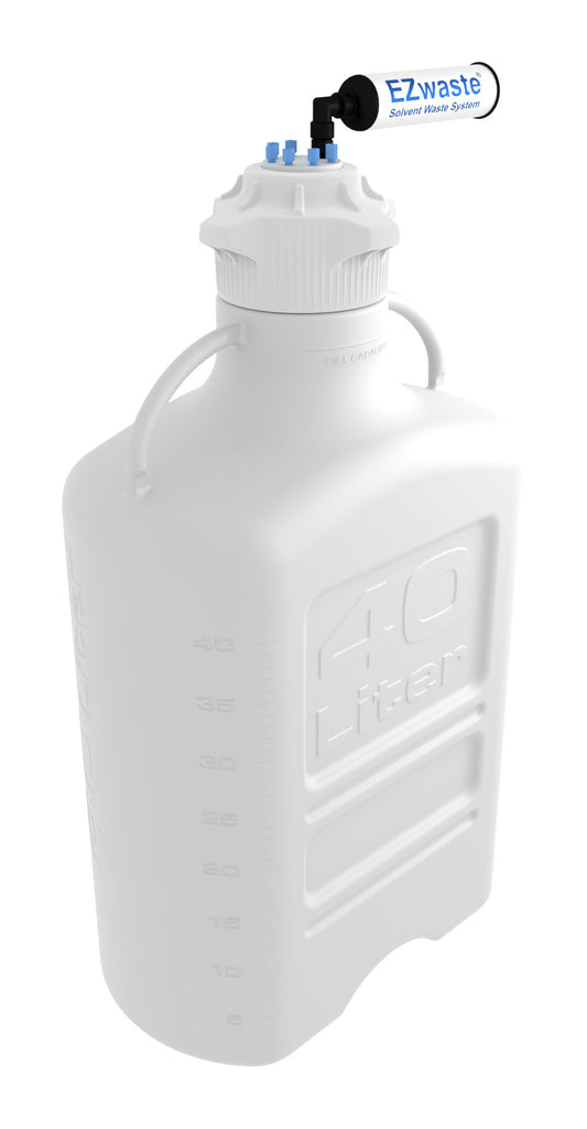EZwaste® XL Safety Vent Carboy 40L HDPE with VersaCap® 120mm, 6 Ports for 1/8'' OD Tubing and a Chemical Exhaust Filter - SolventWaste.com