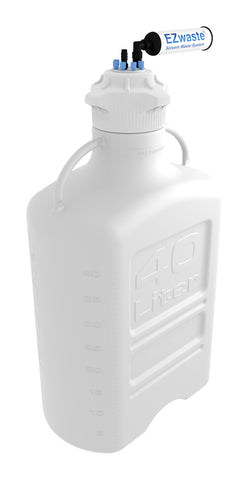 "EZwaste® XL Safety Vent Carboy 40L HDPE with VersaCap® 120mm, 6 Ports for 1/8"" OD Tubing, 1 Port for 1/4"" HB or 3/8"" HB Adapter and a Chemical Exhaust Filter - SolventWaste.com"
